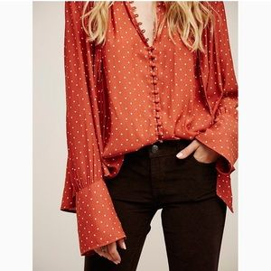 FREE PEOPLE Modern Muse Polka Dot Blouse Sz L